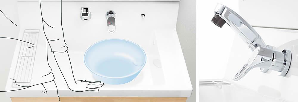 最新の洗面台は機能的。洗面所のリフォームで快適な一日のスタートを。水漏れなどのトラブルなどのトラブルもお任せ下さい。